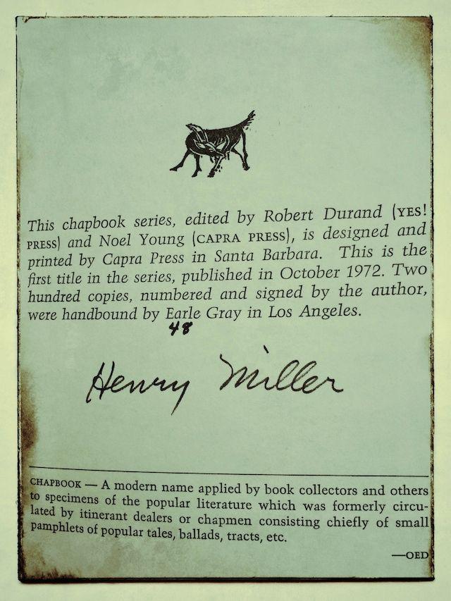Henry Miller Chapbook